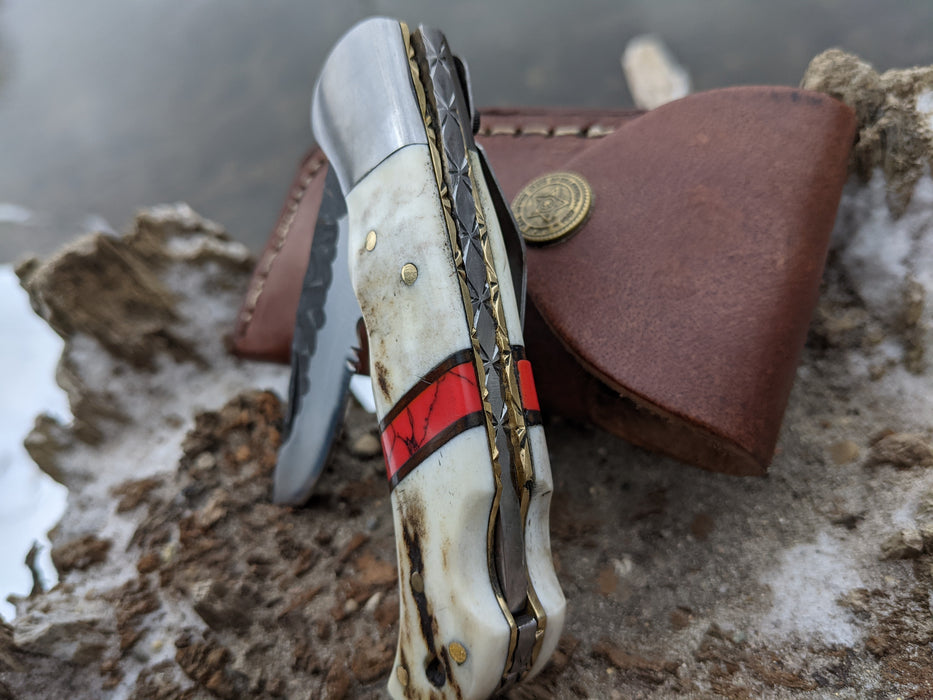 Personalized Folding Knife | Deer Antler Red Turquoise Handle | NR01-3 - North Rustic