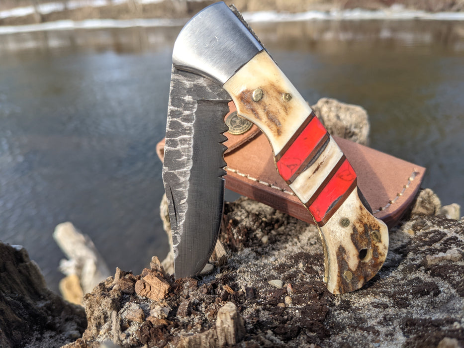 Personalized Folding Knife | Deer Antler Red Turquoise Handle | NR02-3 - North Rustic