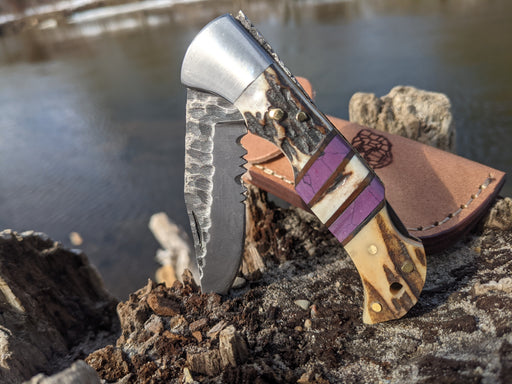 Personalized Folding Knife | Deer Antler Purple Coral Handle | NR02-5 - North Rustic