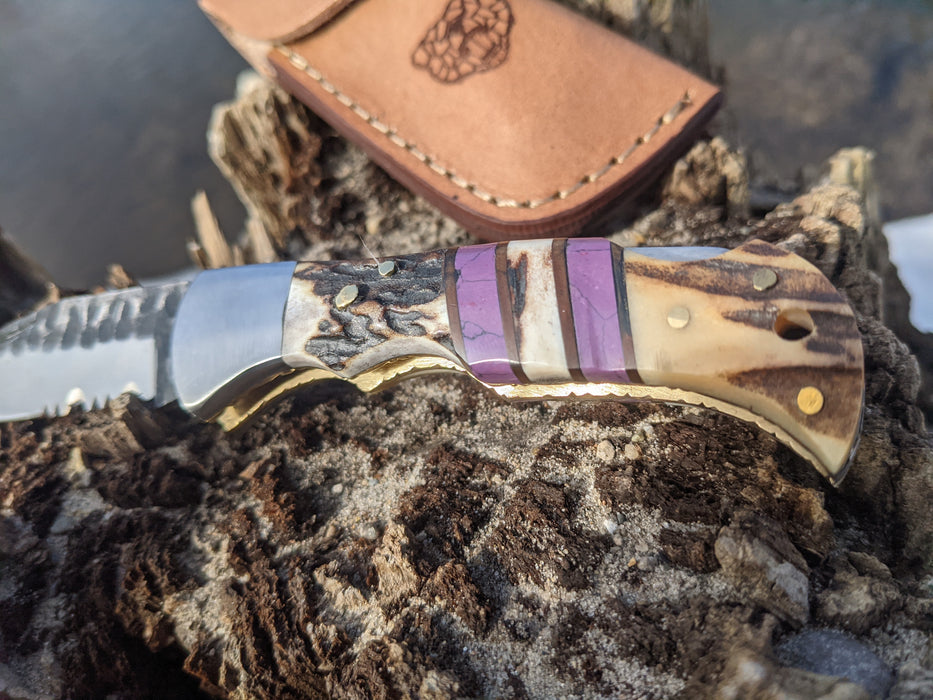 Personalized Folding Knife | Deer Antler Purple Coral Handle | NR02-5