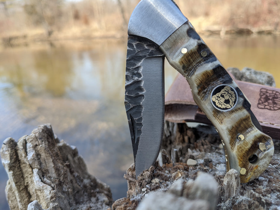 Personalized Folding Knife | Ram Horn Handle | NR03-1 - North Rustic