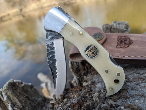 Personalized Folding Knife | Buffalo Bone Handle | NR03-2 - North Rustic