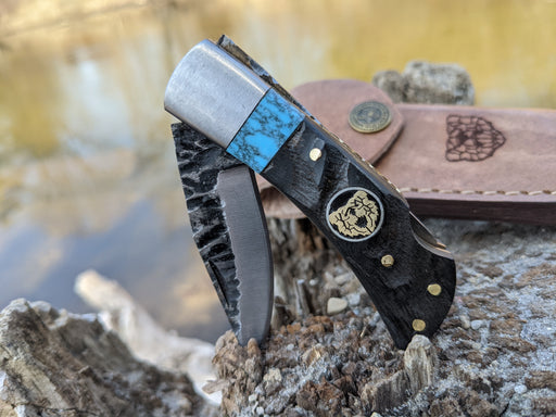 Personalized Small Folding Knife | Ram Horn Blue Turquoise Handle | NR04-2 - North Rustic