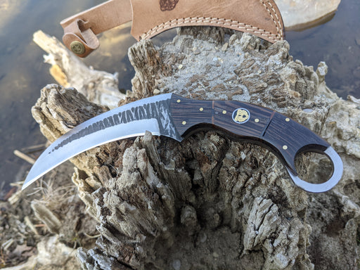 Personalized Hunting Knife | Wenge Wood Handle Karambit | NR07-5 - North Rustic