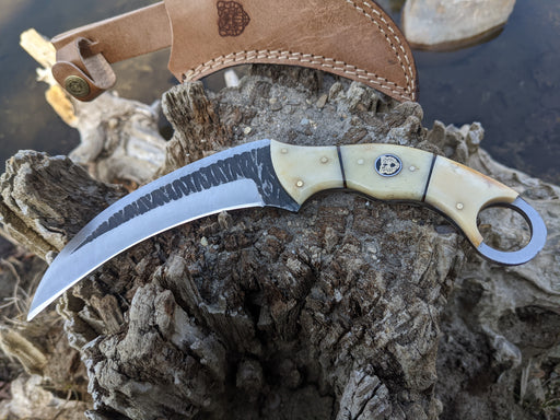 Personalized Hunting Knife | Buffalo Bone Handle Karambit | NR07-1 - North Rustic