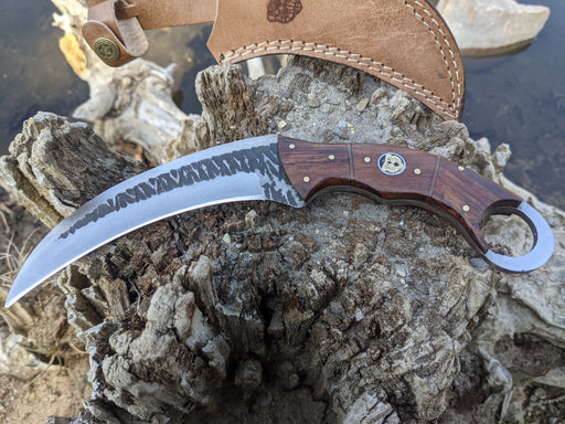 Personalized Hunting Knife | Rose Wood Handle Karambit | NR07-2 - North Rustic