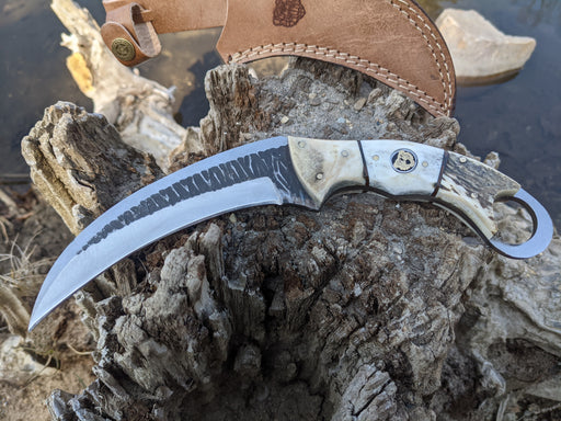 Personalized Hunting Knife | Deer Antler Handle Karambit | NR06-5 - North Rustic