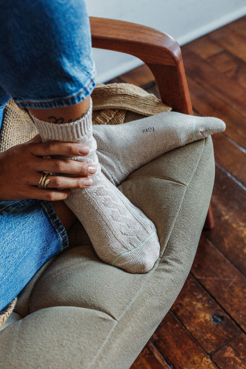 Cotton Weekender Cable Boot Socks - Oatmeal (Women's) thumbnail