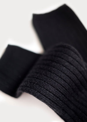 Wool Blend Dressy Boot Socks - Black thumbnail