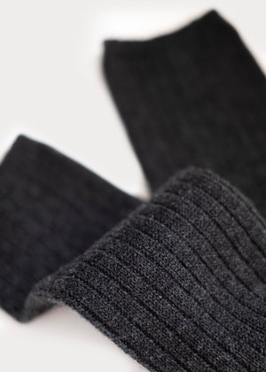 Wool Blend Dressy Boot Socks - Charcoal thumbnail