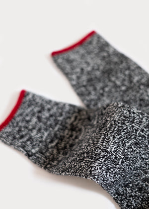 Wool Blend Weekender Rib Boot Socks - Black thumbnail
