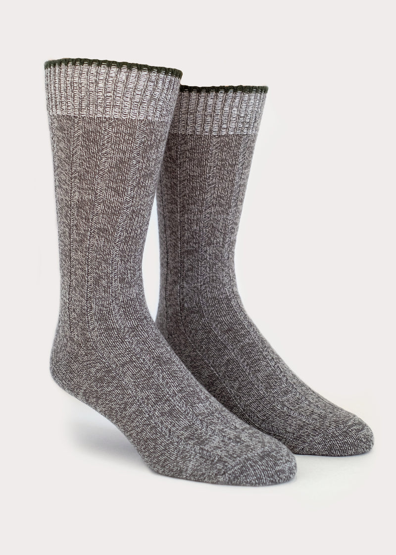 Wool Blend Weekender Rib Boot Socks - Grey thumbnail