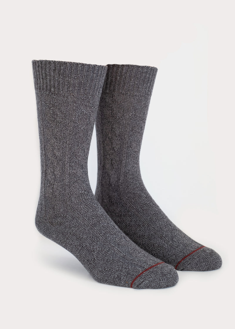 Cotton Weekender Cable Boot Socks - Grey thumbnail