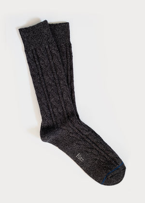 Cotton Weekender Cable Boot Socks - Charcoal thumbnail
