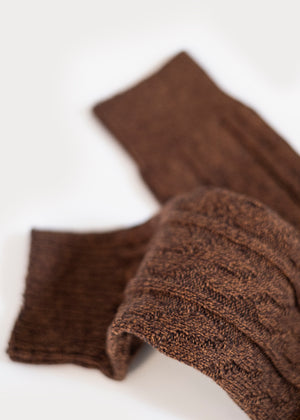 Cotton Weekender Cable Boot Socks - Brown mix thumbnail