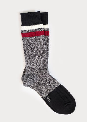 Wool Blend Boot Socks with Stripes - Black thumbnail