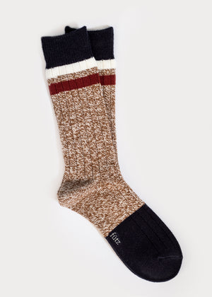 Wool Blend Boot Socks with Stripes - Camel thumbnail