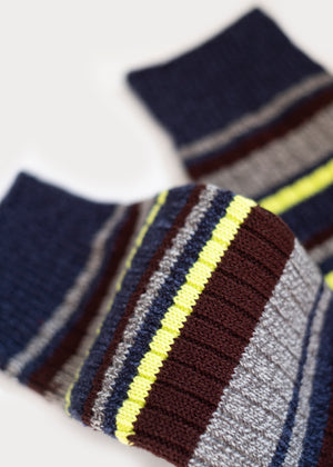 Wool Blend Multi-Colour Stripes Boot Socks - Denim thumbnail