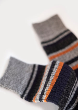 Wool Blend Multi-Colour Stripes Boot Socks - Grey thumbnail