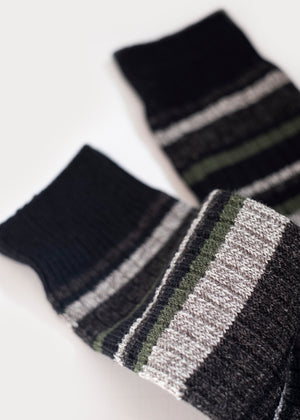 Wool Blend Multi-Colour Stripes Boot Socks - Black thumbnail
