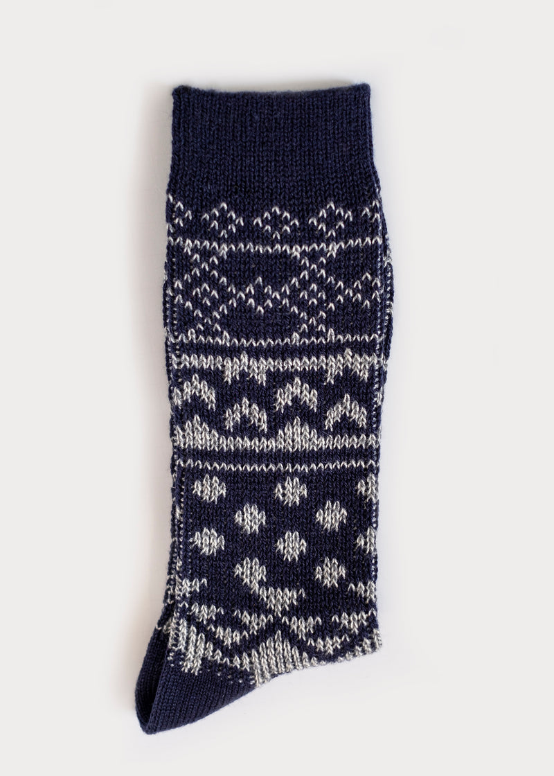 Wool Blend Nordic Boot Socks - Navy thumbnail