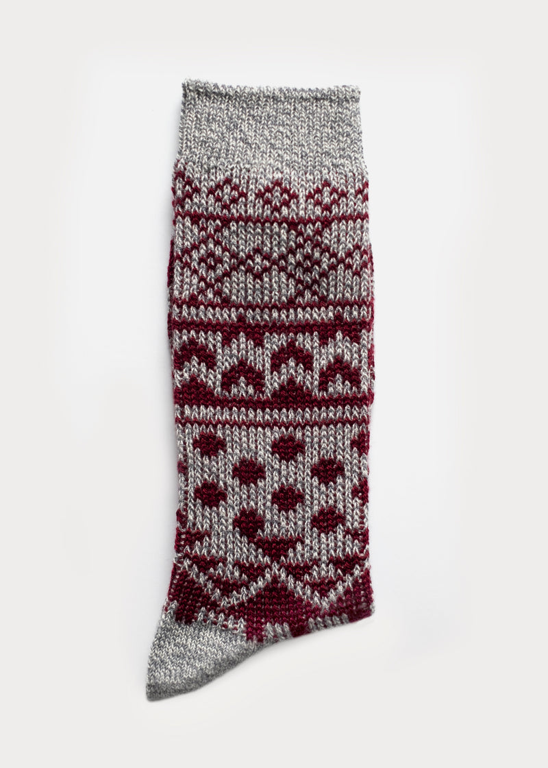 Wool Blend Nordic Boot Socks - Grey thumbnail