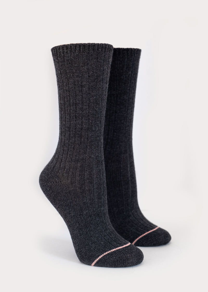 Wool Blend Dressy Boot Socks - Charcoal (Women's) thumbnail