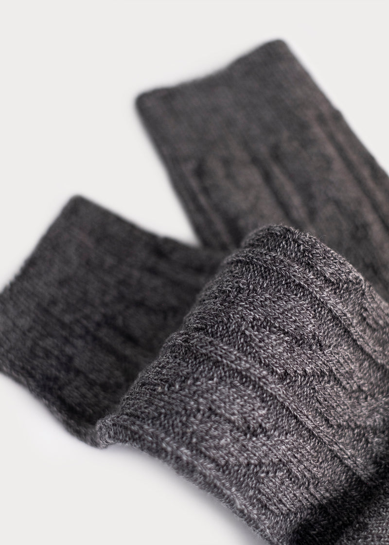 Cotton Weekender Cable Boot Socks - Grey (Women's) thumbnail