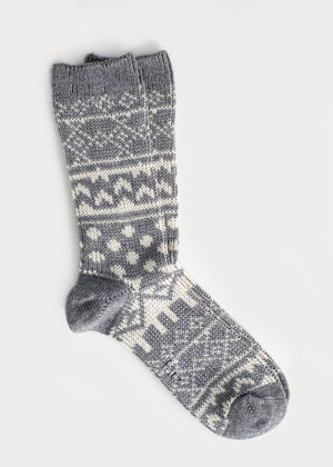 Wool Blend Nordic Boot Socks - Grey (Women's) thumbnail