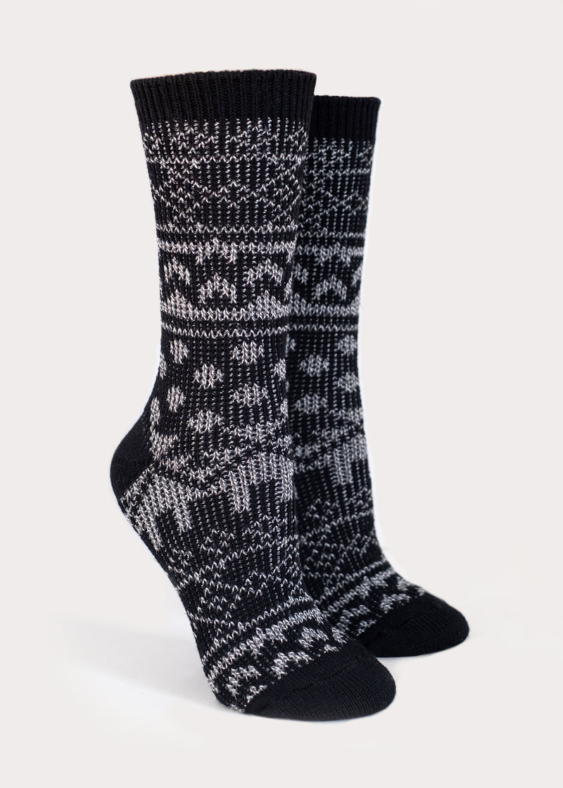 Wool Blend Nordic Boot Socks - Black (Women's) thumbnail