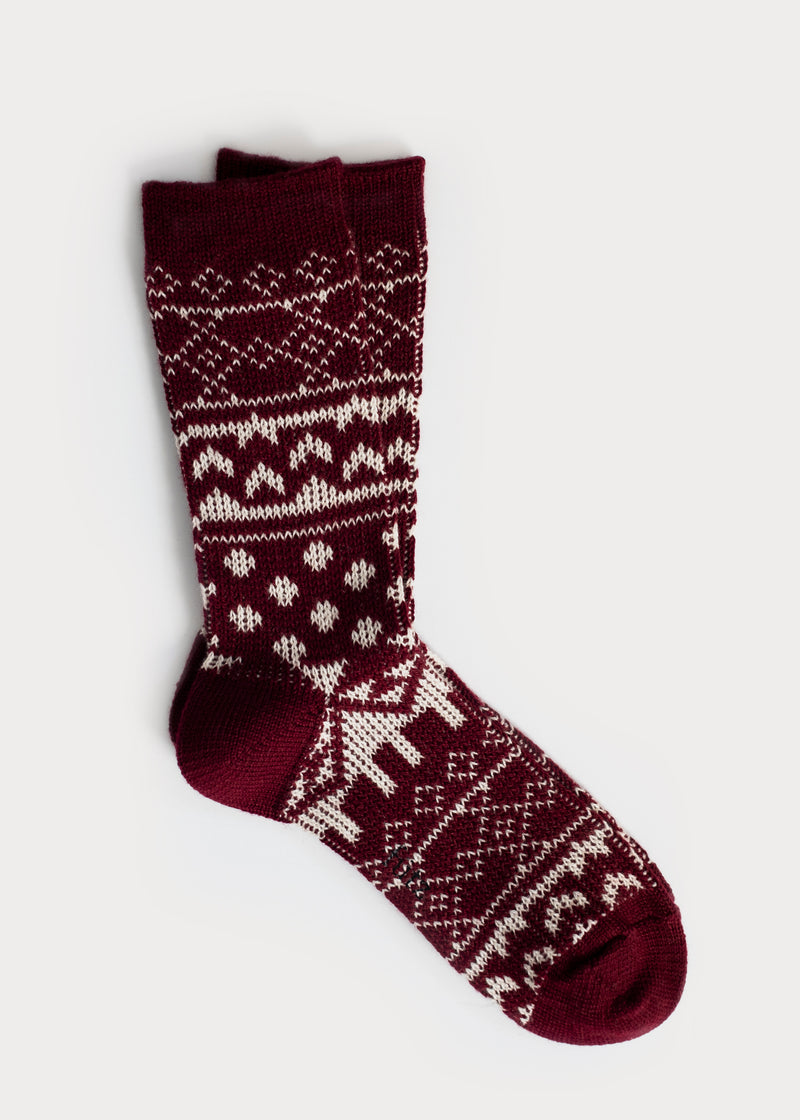 Wool Blend Nordic Boot Socks - Burgundy (Women's) thumbnail