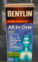 BENYLIN 1 ALL IN ONE COLD & FLU NIGHTTIME SYRUP 170ML