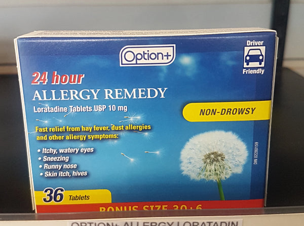 OPTION+ ALLERGY LORATADIN TAB 10MG 30+6