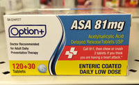 OPTION+ ASA 81MG LOW DOSE BONUS 120 + 30 TABLETS