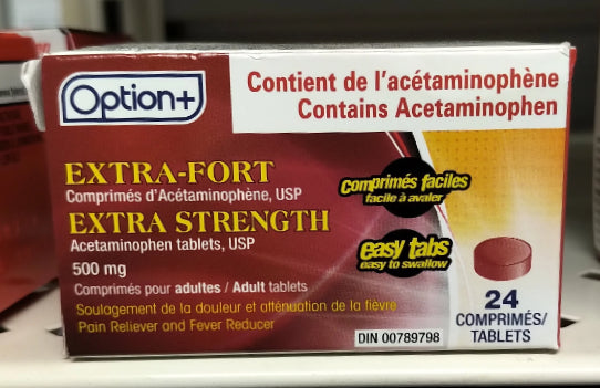 OPTION+ ACETAMINOPHEN 500MG TABLETS