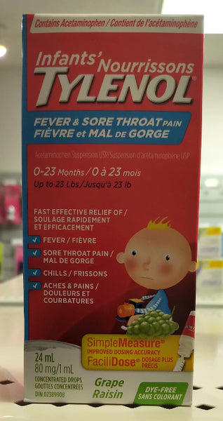 TYLENOL INFANT WGRAPE DYEFREE DROPFEVERCOLD & FLU 24ML
