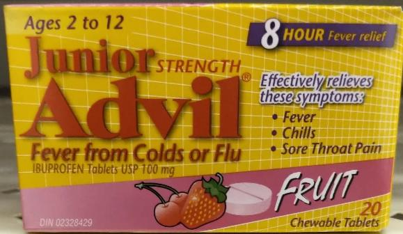 ADVIL JR STR FEVER FROM COLD OR FLUTABS 20S