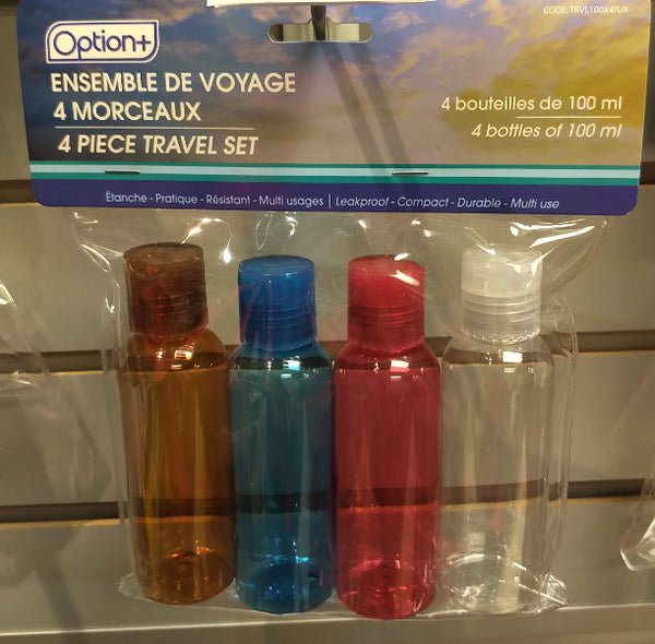 OPTION+ CLEAR TRAVEL BOTTLE 4X100ML