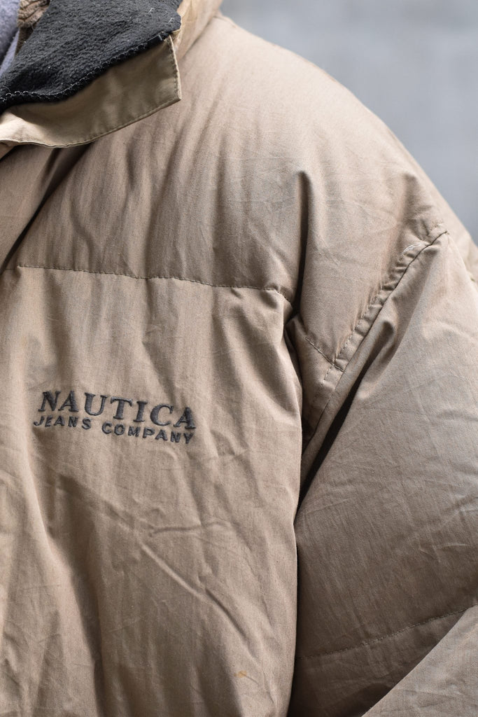 Nautica Jeans Company Puffer Jacket Grey Embroidered Logo XXL