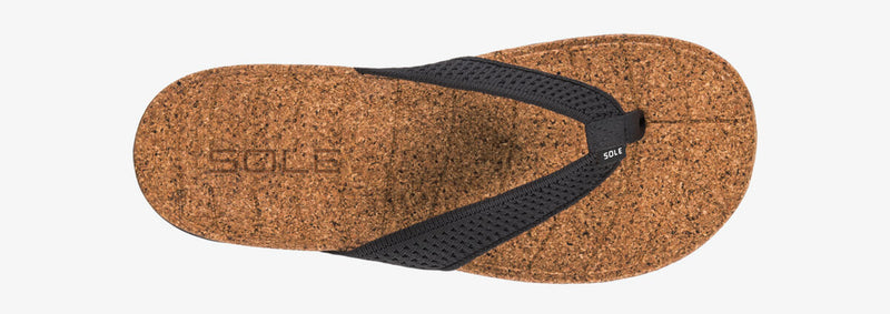 SOLE Women's Laguna Flip Orthotic Cork Sandal Black