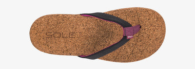 SOLE Women's Santa Cruz Flip Orthotic Cork Sandal Black
