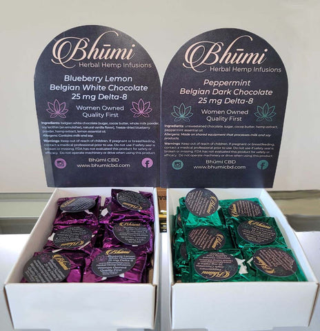 Delta 8 Bhumi 25mg Chocolates. Peppermint Dark Chocolate, Blueberry Lemon White Chocolate. 25 mg - Triangle Hemp Wellness