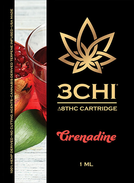 3Chi Delta 8 THC Vape Cartridge  Grenadine 1ml. - Triangle Hemp Wellness