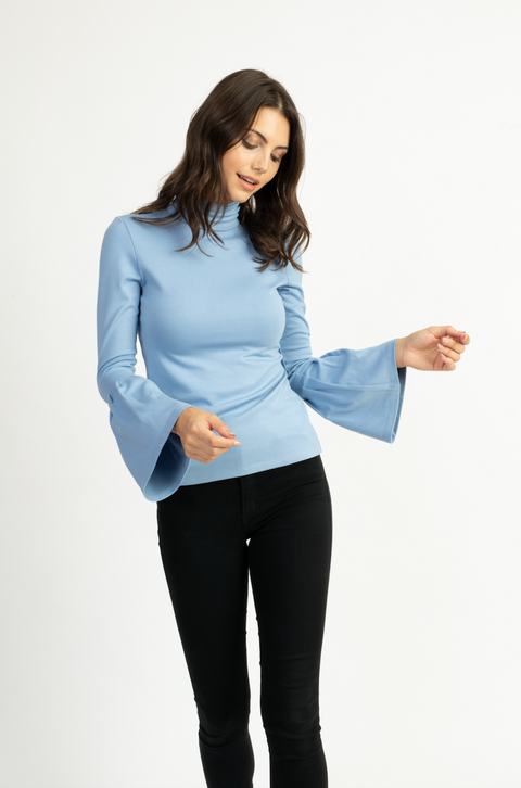 Heather Turtleneck with Bell Sleeves