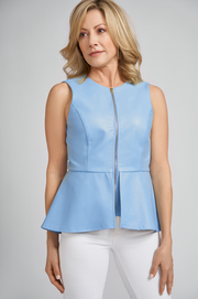 Reagan Vegan Leather Peplum Top