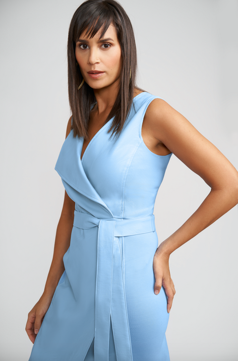 Blair Vegan Leather Wrap Dress