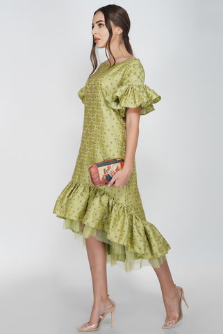 Drop Hem Frill Shift Midi From Nesavaali London