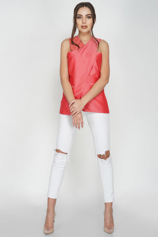Wrap Over Sleeveless Top From Nesavaali London