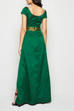 Green Wrap Cap Sleeve Slit Open Maxi From Nesavaali London