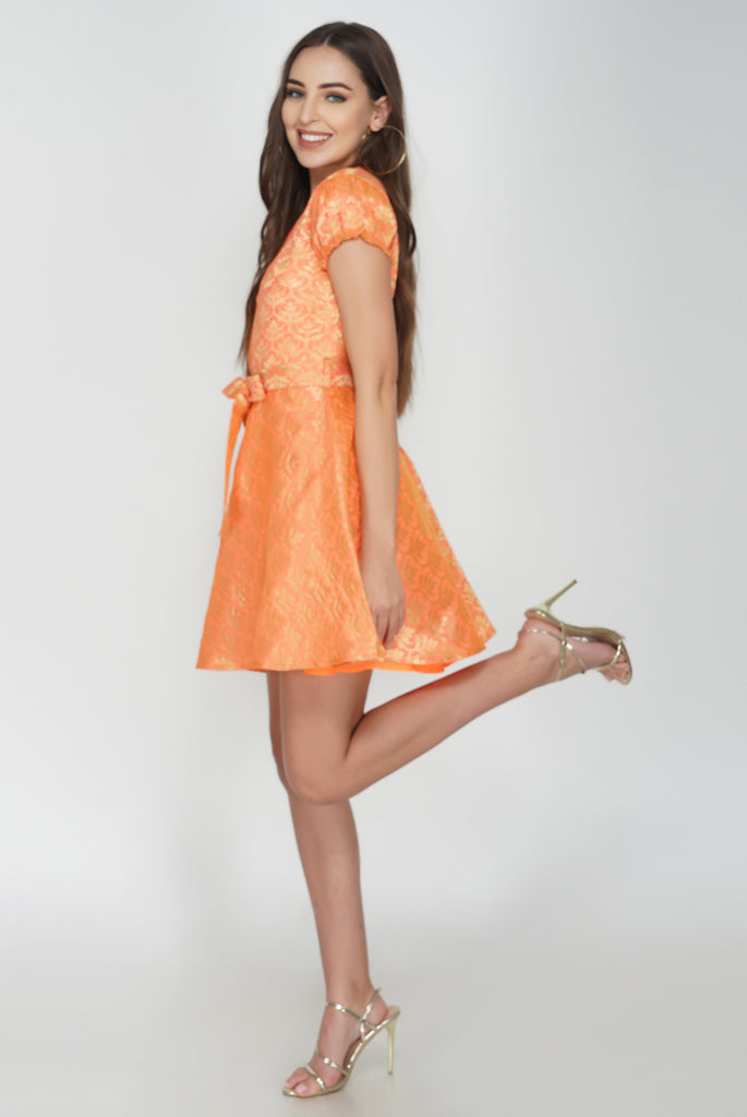Prom Skater Rich Peach Shinny Brocade Mini Dress From Nesavaali London